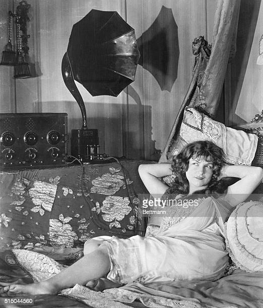 Helen Lynch in bed listens to radio 'Sing me to sleep by radio' says Helen Lynch movie Actress in a Los Angeles studio and so after her work is...
