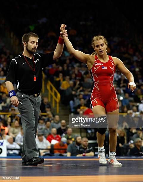 Helen Maroulis celebrates after defeating Sharon Jacobson to win their Women's 53kg challenge match on day 2 of the 2016 U.S. Olympic Team Wrestling...