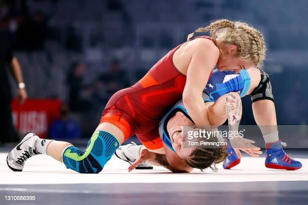 Helen Maroulis competes against Jenna Burkert in their Freestyle 62kg finals match on day 2 of the U.S. Olympic Wrestling Team Trials at Dickies...