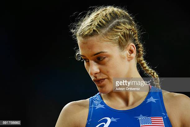 Helen Maroulis of the United States prepares for her match against Yuliya Khalvadzhy of Ukraine during women's freestyle wrestling 53kg qualification...