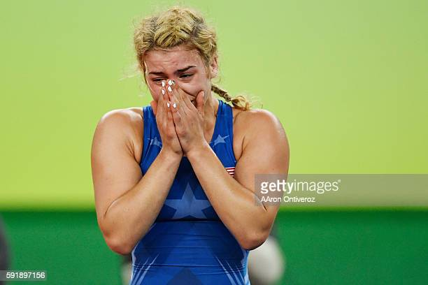 Helen Maroulis of the United States reacts to defeating Saori Yoshida of Japan during 53kg women's freestyle wrestling title match on Thursday,...