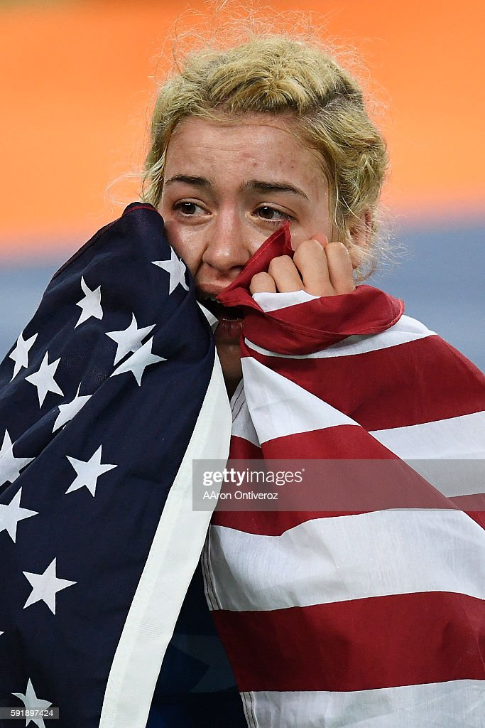 Helen Maroulis of the United States reacts to defeating Saori Yoshida of Japan during 53kg women's freestyle wrestling title match on Thursday, August 18, 2016. Maroulis defeated Yoshida 4-1 to capture the gold. Yoshida is the world's most decorated wrestler with three Olympic gold medals and 13 world titles.