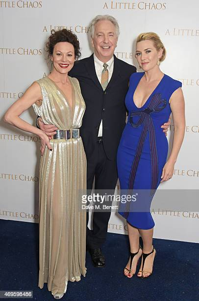 """Helen McCrory, Alan Rickman and Kate Winslet attend the UK premiere of """"A Little Chaos"""" at ODEON Kensington on April 13, 2015 in London, England."""