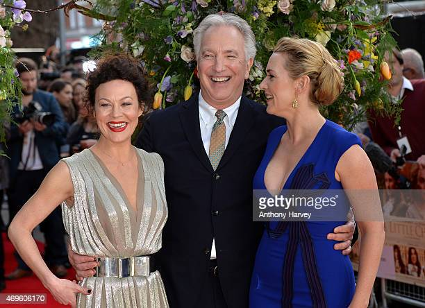 Helen McCrory Alan Rickman and Kate Winslet attend the UK premiere of 'A Little Chaos' at ODEON Kensington on April 13 2015 in London England