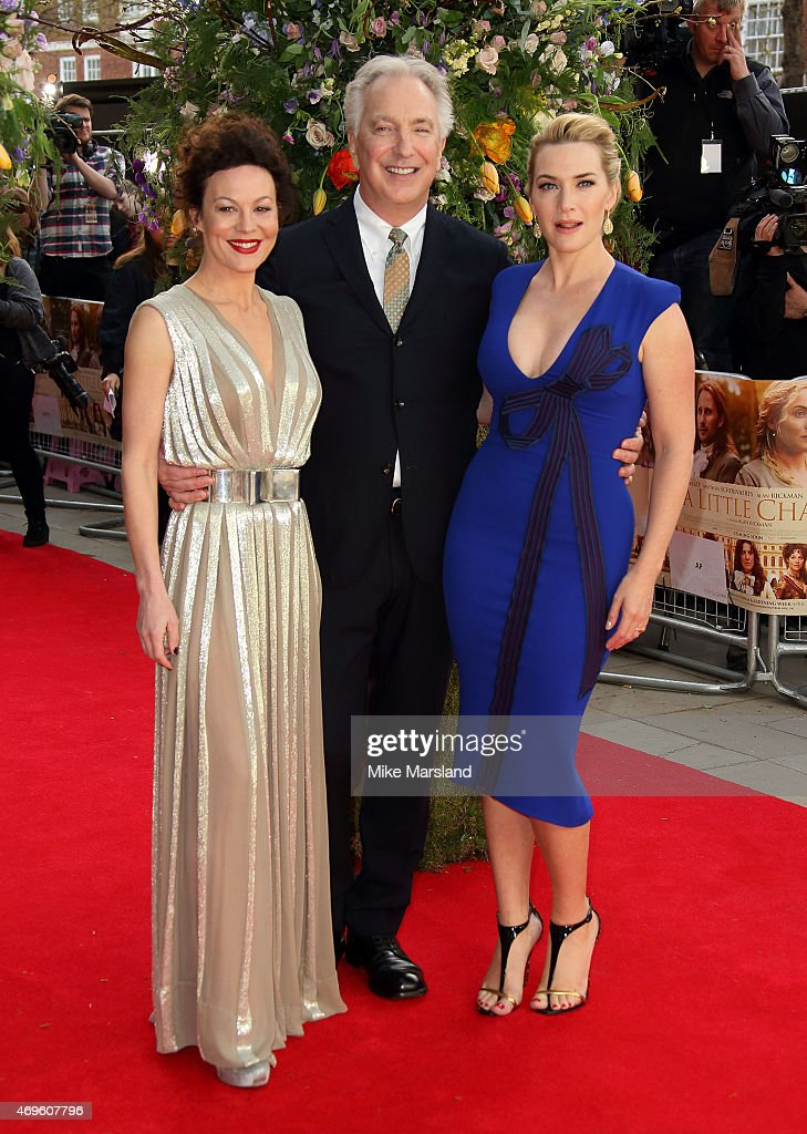 Helen McCrory, Alan Rickman and Kate Winslet attend the UK premiere of 'A Little Chaos' at ODEON Kensington on April 13, 2015 in London, England.