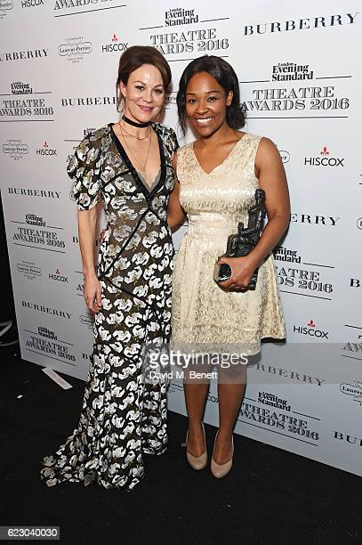 Helen McCrory and Charlene James winner of the Charles Wintour Award for Most Promising Playwright pose in front of the winners boards at The 62nd...