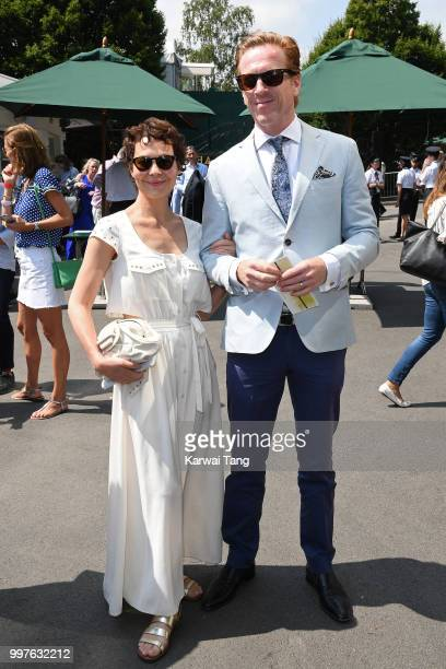 Helen McCrory and Damian Lewis attend day eleven of the Wimbledon Tennis Championships at the All England Lawn Tennis and Croquet Club on July 13...