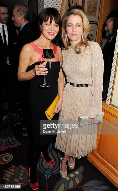 Helen McCrory and Gillian Anderson attend the Charles Finch and Chanel PreBAFTA cocktail party and dinner at Annabel's on February 8 2013 in London...