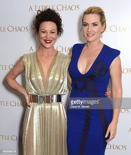 """Helen McCrory and Kate Winslet attend the UK premiere of """"A Little Chaos"""" at ODEON Kensington on April 13, 2015 in London, England."""