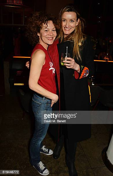 Helen McCrory and Natascha McElhone attend the press night after party of 'The Caretaker' at Skylon on April 6 2016 in London England
