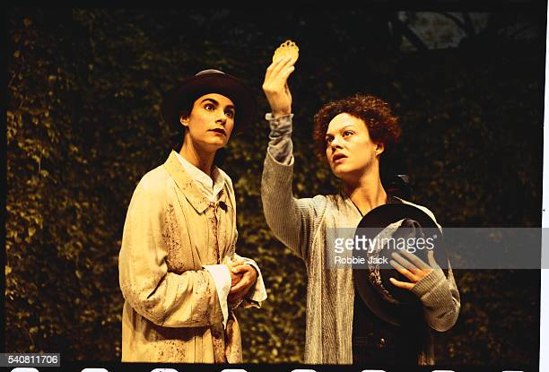 helen mccrory and tonia chauvet on stage in the triumph of love - robbie jack stock-fotos und bilder