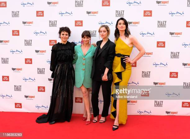 Helen McCrory Charlene McKenna Sophie Rundle and Natasha OKeeffe attend the premiere of the 5th season of Peaky Blinders at Birmingham Town Hall on...