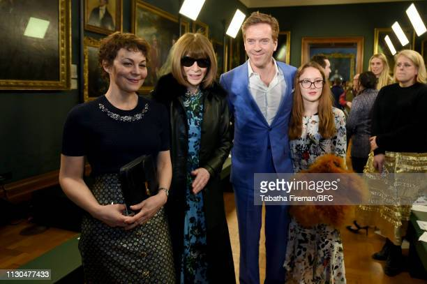 Helen McCrory Dame Anna Wintour and Damian Lewis attend the Erdem show during London Fashion Week February 2019 at the National Portrait Gallery on...