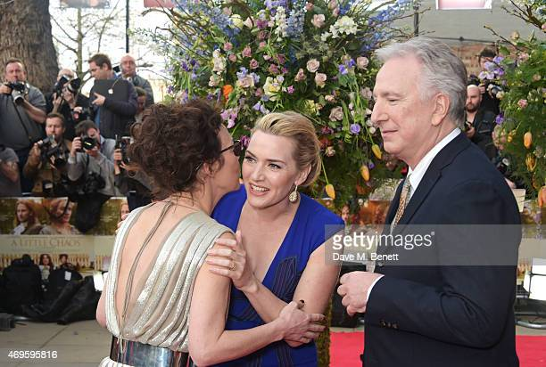 """Helen McCrory, Kate Winslet and Alan Rickman attend the UK premiere of """"A Little Chaos"""" at ODEON Kensington on April 13, 2015 in London, England."""