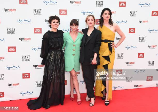 Helen McCroy Charlene McKenna Sophie Rundle and Natasha O'Keeffe attend the premiere of the 5th season of Peaky Blinders at Birmingham Town Hall on...