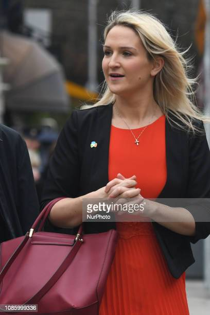 Helen McEntee an Irish Fine Gael politician Minister of State for European Affairs arrives ahead of the centenary commemoration taking place in the...