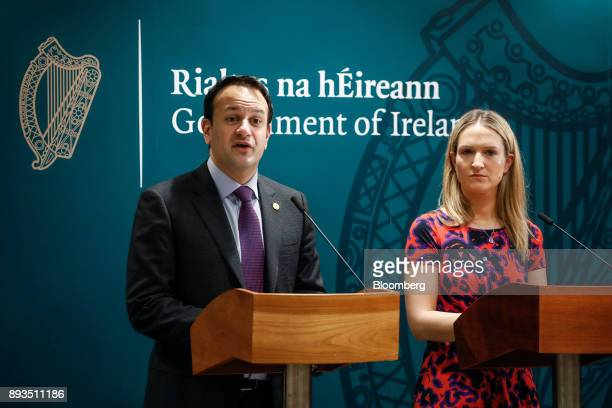 Helen McEntee Ireland's minister for European affairs right looks on as Leo Varadkar Ireland's prime minister speaks during a news conference at a...