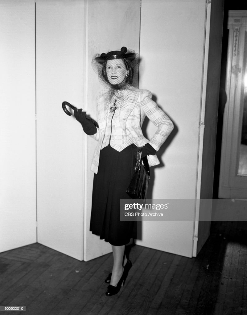 Helen Menken is photographed wearing a fashionable ensemble. Menken stars as Brenda Cummings in the CBS Radio soap opera, 'Second Husband.' Image dated: March 1, 1941. New York, NY.