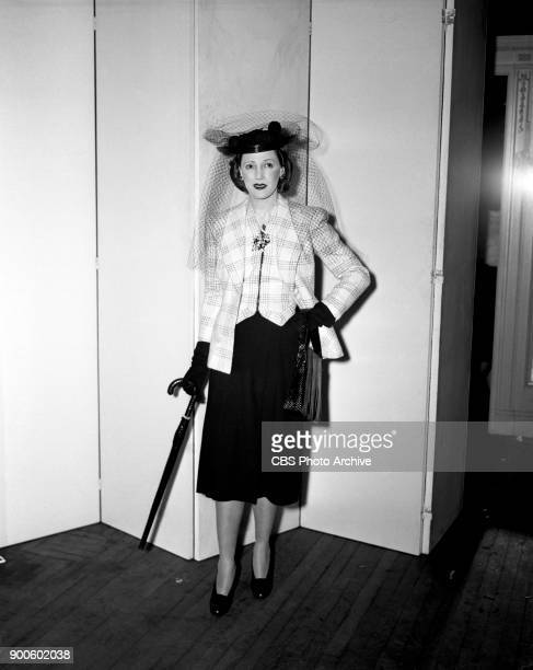 Helen Menken is photographed wearing a fashionable ensemble Menken stars as Brenda Cummings in the CBS Radio soap opera 'Second Husband' Image dated...