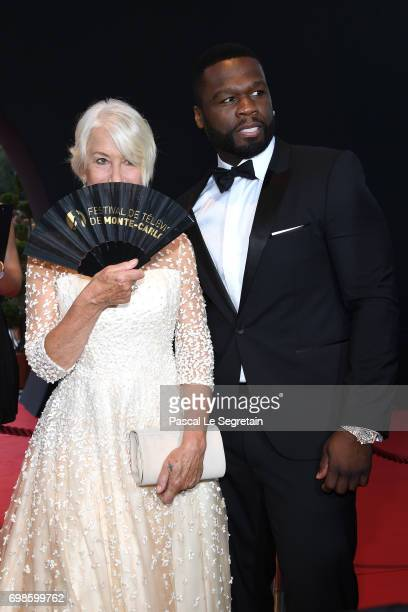 Helen Mirren and 50 Cent attend the Closing ceremony of the 57th Monte Carlo TV Festival on June 20 2017 in MonteCarlo Monaco
