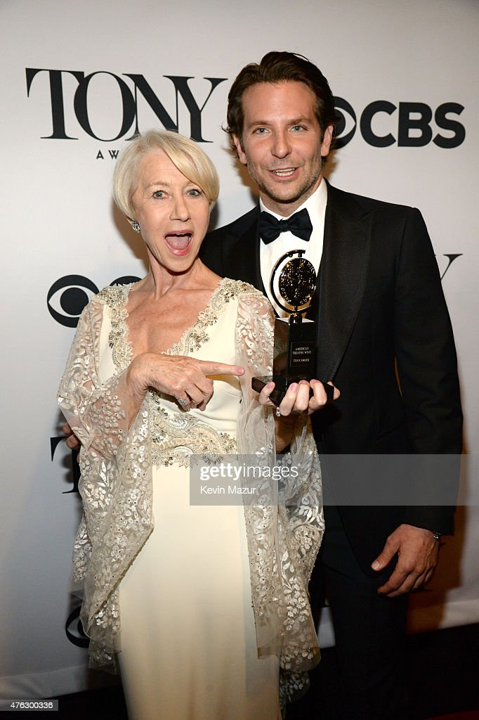 Helen Mirren and Bradley Cooper attend the 2015 Tony Awards at Radio City Music Hall on June 7, 2015 in New York City.
