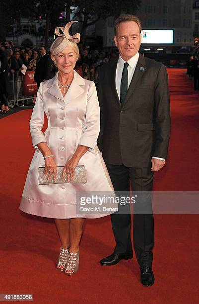 Helen Mirren and Bryan Cranston attend the Accenture Gala Screening of 'Trumbo' during the BFI London Film Festival at Odeon Leicester Square on...