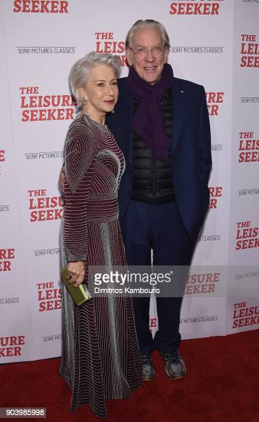 Helen Mirren and Donald Sutherland attend 'The Leisure Seeker' New York Screening at AMC Loews Lincoln Square on January 11 2018 in New York City