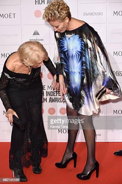 Helen Mirren and Emma Thompson attends the Moet British Independent Film Awards at Old Billingsgate Market on December 7 2014 in London England
