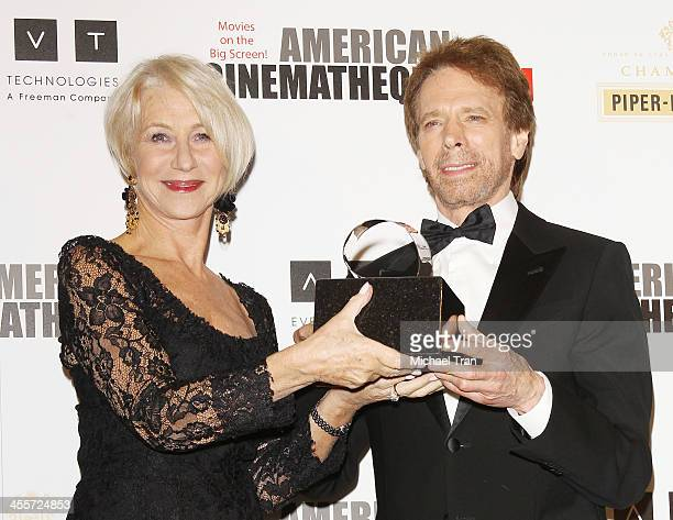 Helen Mirren and honoree Jerry Bruckheimer attend the 27th American Cinematheque Award honoring Jerry Bruckheimer held at The Beverly Hilton Hotel on...