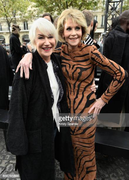 Helen Mirren and Jane Fonda attend Le Defile L'Oreal Paris as part of Paris Fashion Week Womenswear Spring/Summer 2018 at Avenue Des Champs Elysees...