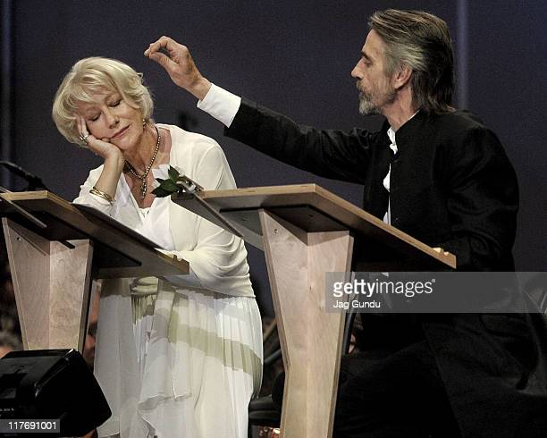 Helen Mirren and Jeremy Irons perform onstage at the Blackcreek summer music festival with music inspired by Shakespeare at the Rexall Centre on June...