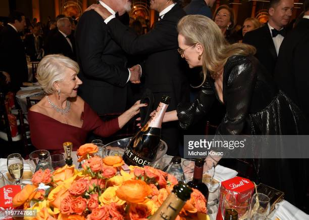 Helen Mirren and Meryl Streep attend the 77th Annual Golden Globe Awards at The Beverly Hilton Hotel on January 05 2020 in Beverly Hills California