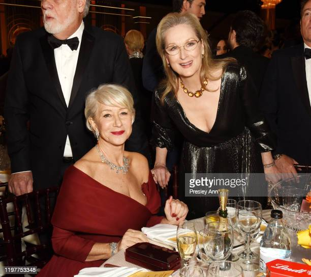 Helen Mirren and Meryl Streep attend the 77th Annual Golden Globe Awards sponsored by Icelandic Glacial on January 5 2020 at the Beverly Hilton in...