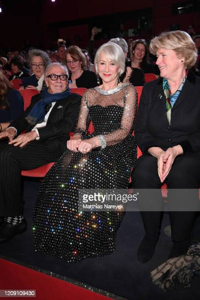 Helen Mirren and Minister of State for Culture and the Media Monika Gruetters at the Homage Helen Mirren Honorary Golden Bear award ceremony during...
