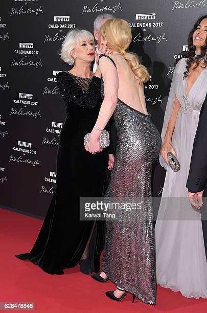 Helen Mirren and Nicole Kidman attend the 2017 Pirelli Calendar Gala Dinner at La Cite Du Cinema on November 29 2016 in SaintDenis France