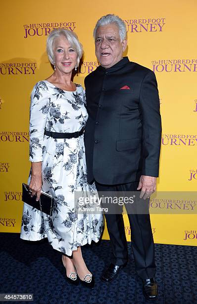Helen Mirren and Om Puri attend the UK Gala screening of 'The Hundred Foot Journey' at The Curzon Mayfair on September 3 2014 in London England