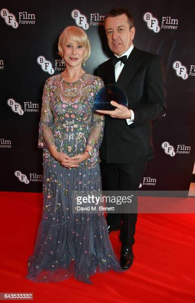 Helen Mirren and Peter Morgan attend the annual BFI Chairman's Dinner honouring Peter Morgan with the BFI Fellowship at Claridge's Hotel on February...