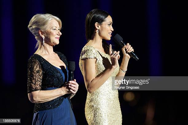 Helen Mirren and Rosario Dawson host the Nobel Peace Prize Concert at Oslo Spektrum on December 11 2011 in Oslo Norway