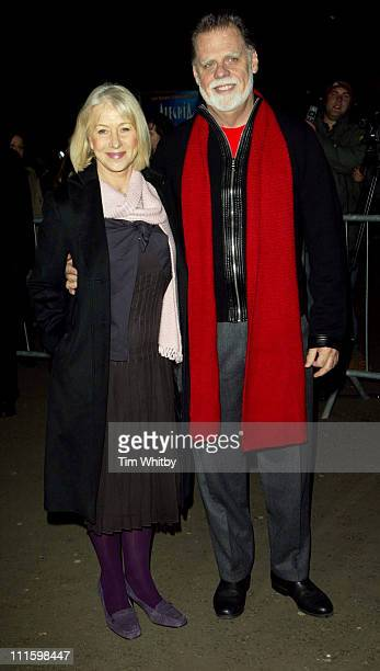 Helen Mirren and Taylor Hackford during Cirque du Soleil Alegria Press Night Outside Arrivals at Royal Albert Hall in London Great Britain