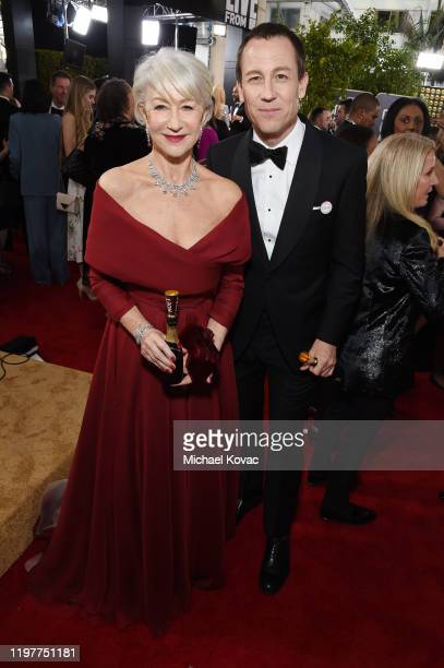 Helen Mirren and Tobias Menzies attend the 77th Annual Golden Globe Awards at The Beverly Hilton Hotel on January 05 2020 in Beverly Hills California