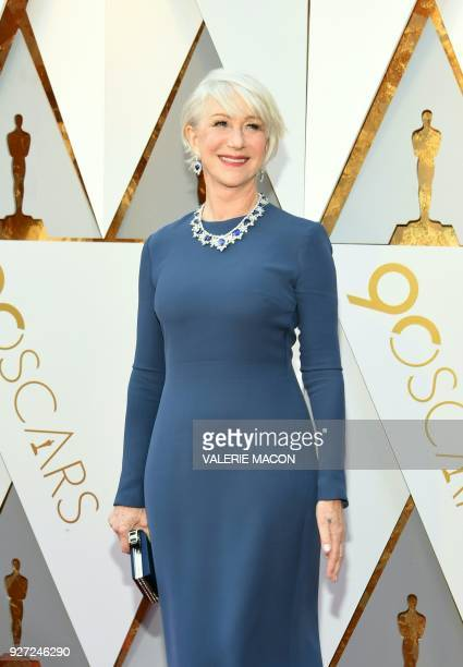 Helen Mirren arrives for the 90th Annual Academy Awards on March 4 in Hollywood California / AFP PHOTO / VALERIE MACON