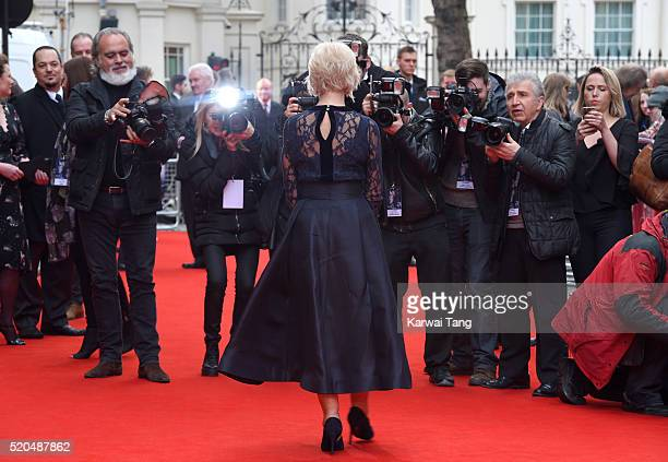 """Helen Mirren arrives for the UK premiere of """"Eye In The Sky"""" at Curzon Mayfair on April 11, 2016 in London, United Kingdom."""