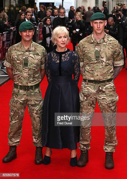 """Helen Mirren attend the UK Premiere of the """"Eye In The sky """" at The Curzon Mayfair on April 11, 2016 in London, England."""