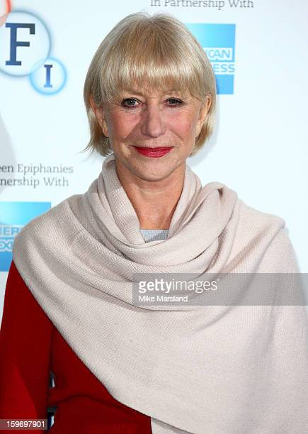 Helen Mirren attends a photocall as part of the BFI Epiphanies series to introduce a screening of the film that inspired her 'L'Atlante' at BFI...