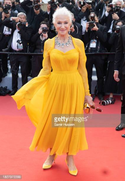 """Helen Mirren attends the """"Annette"""" screening and opening ceremony during the 74th annual Cannes Film Festival on July 06, 2021 in Cannes, France."""