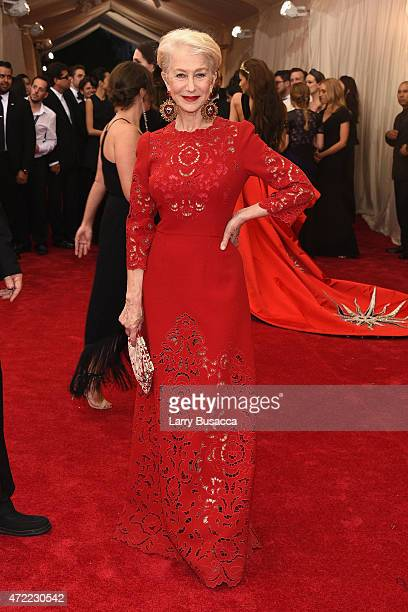 Helen Mirren attends the 'China Through The Looking Glass' Costume Institute Benefit Gala at the Metropolitan Museum of Art on May 4 2015 in New York...