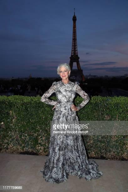 "Helen Mirren attends the cocktail ""Le Defile L'Oreal Paris"" show as part of Paris Fashion Week At Cafe de l'Homme on September 28, 2019 in Paris,..."