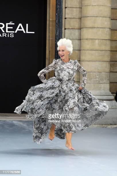 """Helen Mirren attends the """"Le Defile L'Oreal Paris"""" show as part of Paris Fashion Week At Monnaie de Paris on September 28, 2019 in Paris, France."""