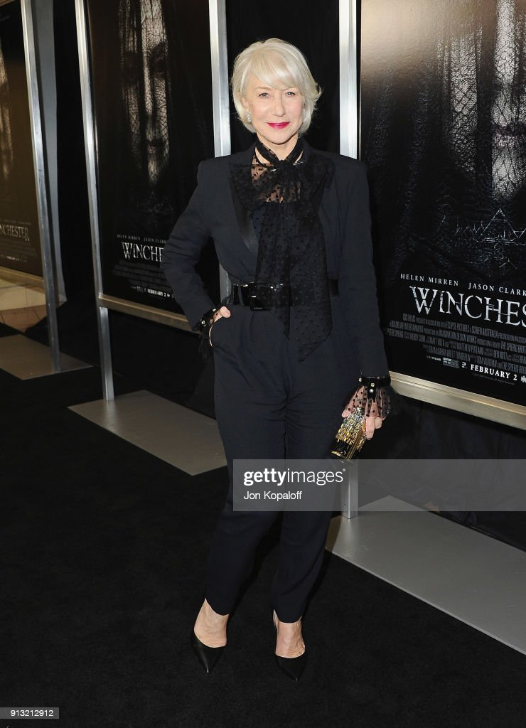 Helen Mirren attends the Los Angeles premiere 'Winchester' at Cinemark Playa Vista on February 1, 2018 in Los Angeles, California.