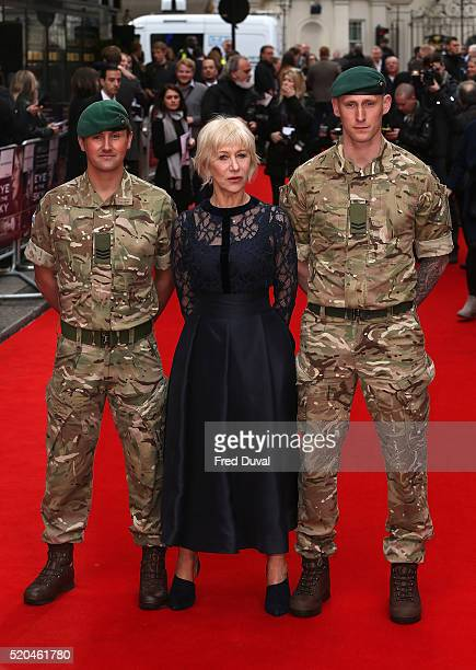 """Helen Mirren attends the UK Premiere of """"Eye In The Sky""""at The Curzon Mayfair on April 11, 2016 in London, England."""